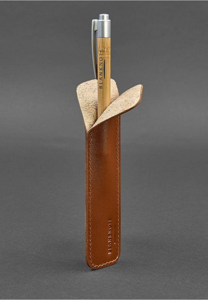 Чехол для ручки кожаный светло-коричневый (ручная работа)