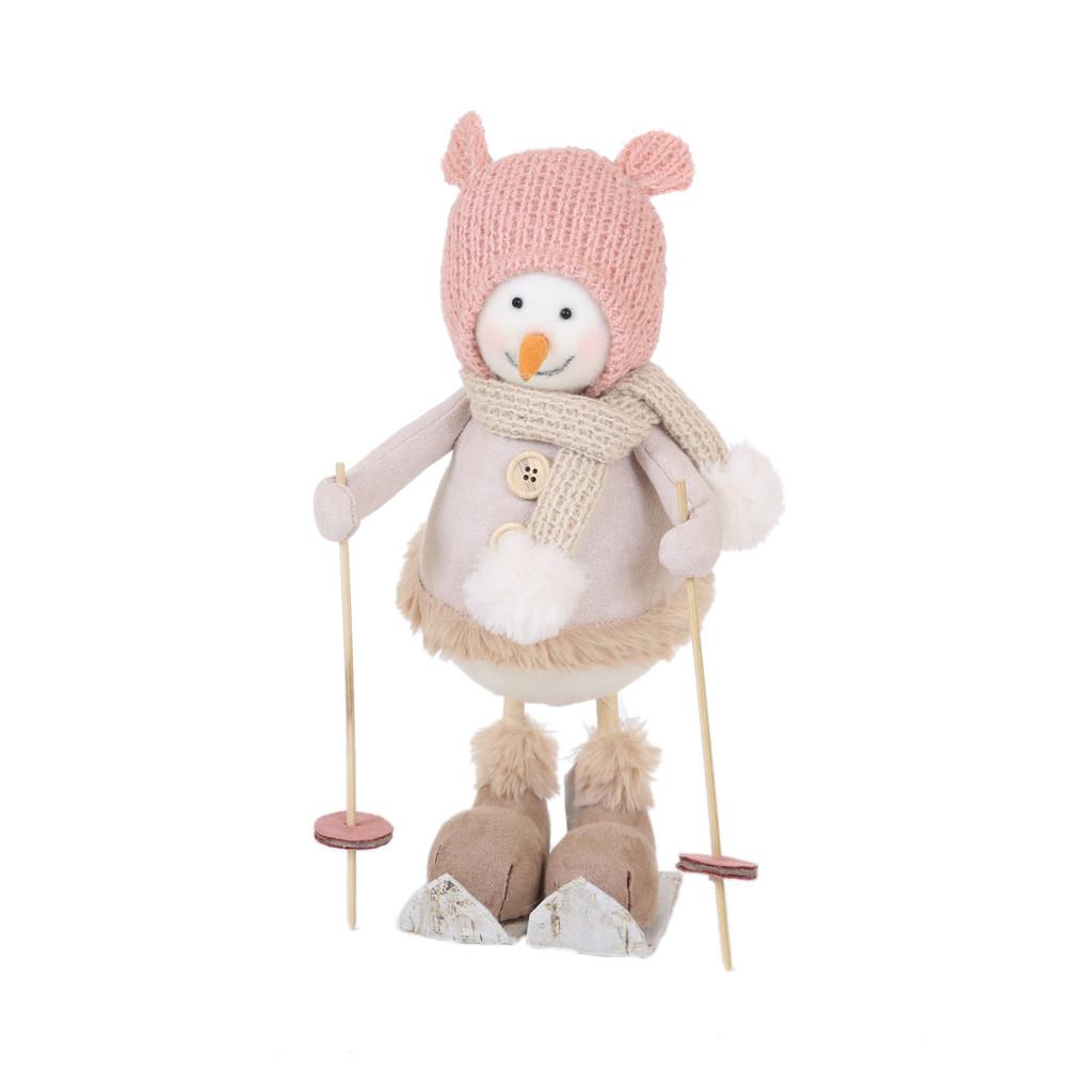 Снеговик девочка на лыжах 32см 108144