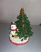 Ёлочка из бисера с снеговиком ручная работа подарок на Новый год