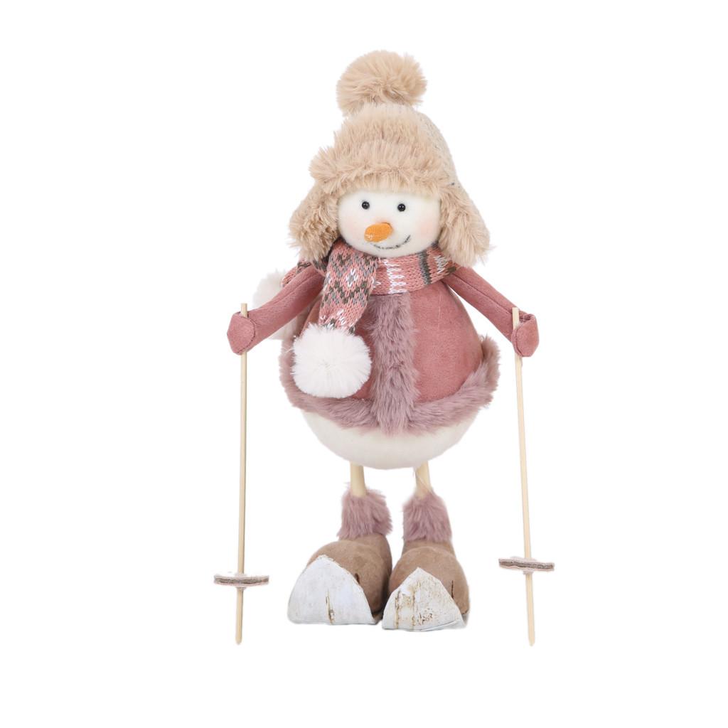 Снеговик мальчик на лыжах 32см 108143
