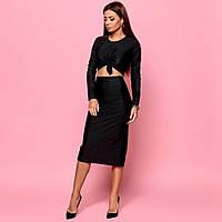 Женский блестящий облегающий костюм юбка с топом черный, фото 1