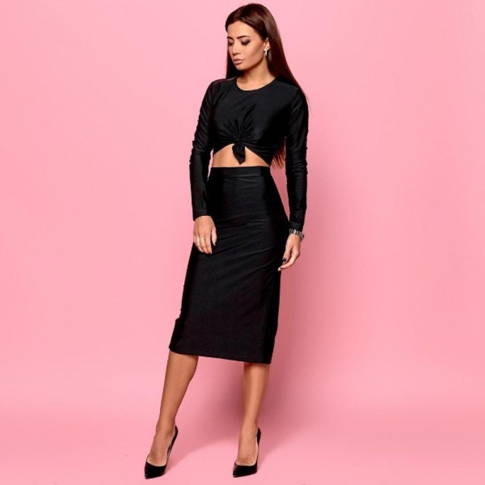 Женский блестящий облегающий костюм юбка с топом черный