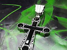 Срібний хрест з камінням онікс