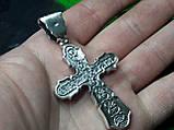 Серебряный крест с камнями оникс, фото 2