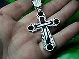 Серебряный крест с камнями оникс, фото 3