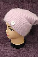 Женская вязаная шапка-колпак розового цвета фирмы Odyssey модель Вероника (19499)