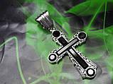 Серебряный крест с камнями оникс, фото 5