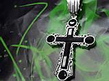Серебряный крест с камнями оникс, фото 7