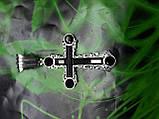 Серебряный крест с камнями оникс, фото 8