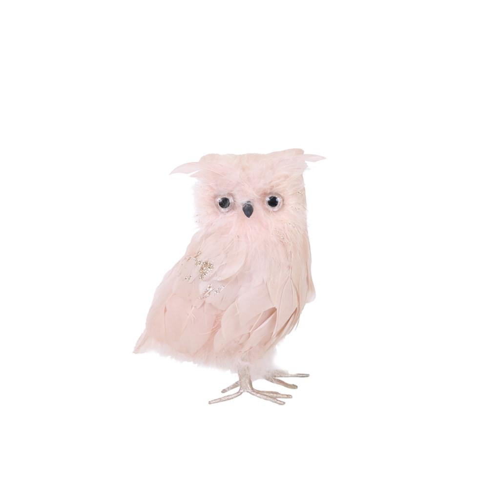 Сова розовая 15см 108142
