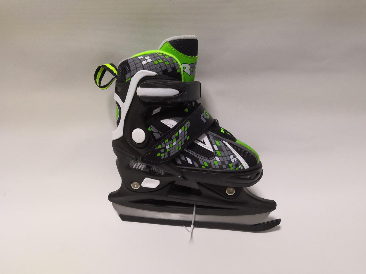 Ледовые коньки утепленные раздвижные, Зеленые С (28-31), М  (32-35)