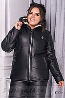 Большая куртка на овчине черная, фото 1