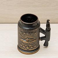 """Кружка пивная из глины  """"Калибр"""" прямая, 0.6 л,"""