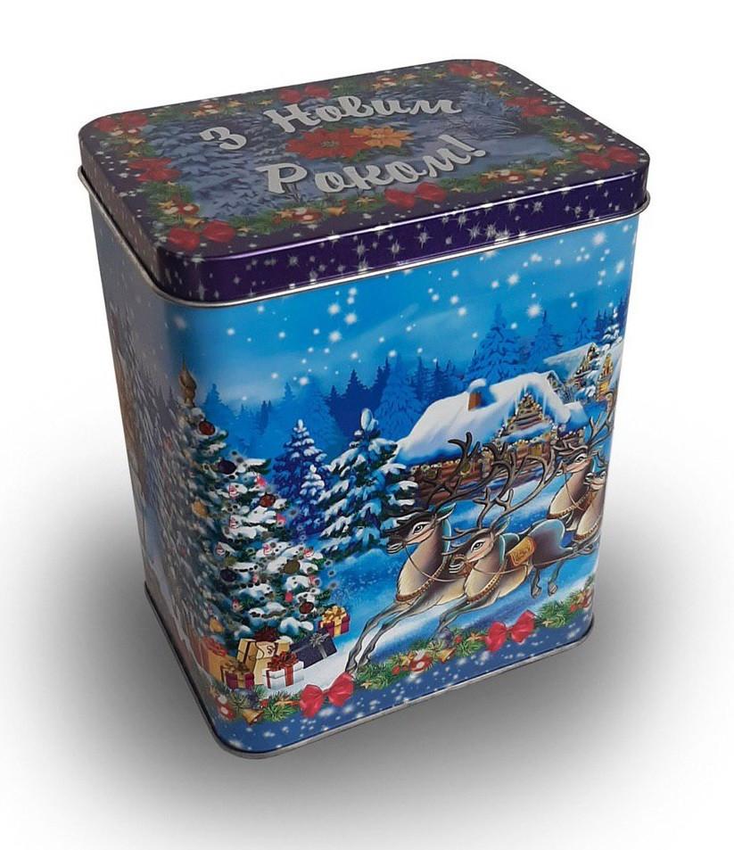 Новогодняя упаковка из жести Олени, 18,1х13,5х6,5см