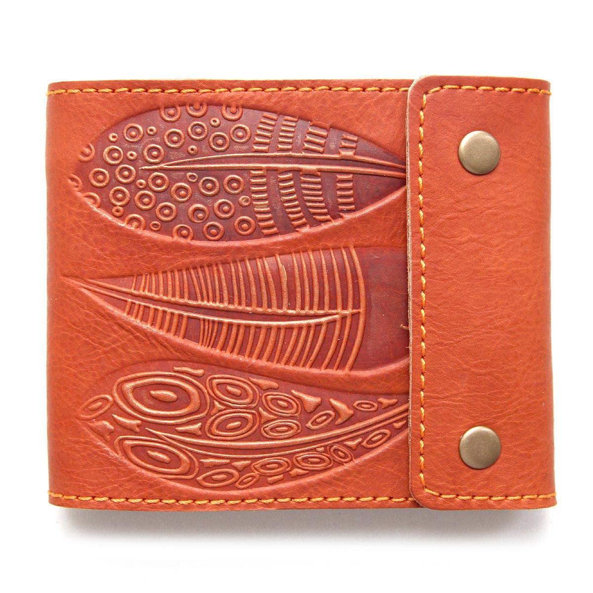 """Портмоне шкіряне з кишенею для монет і відділенням на блискавці """"ORANGE FEATHERS"""" (Guk). Колір помаранчевий"""