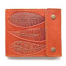 """Портмоне кожаное с карманом для монет и отделением на молнии """"ORANGE FEATHERS"""" (Guk). Цвет оранжевый"""