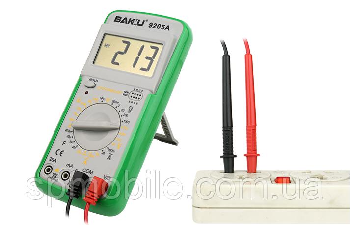 Мультиметр цифровой BAKU BK-9205A с функцией автоотключения (ток до 20А)