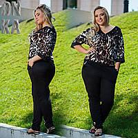 Женский костюм черные штаны и блуза