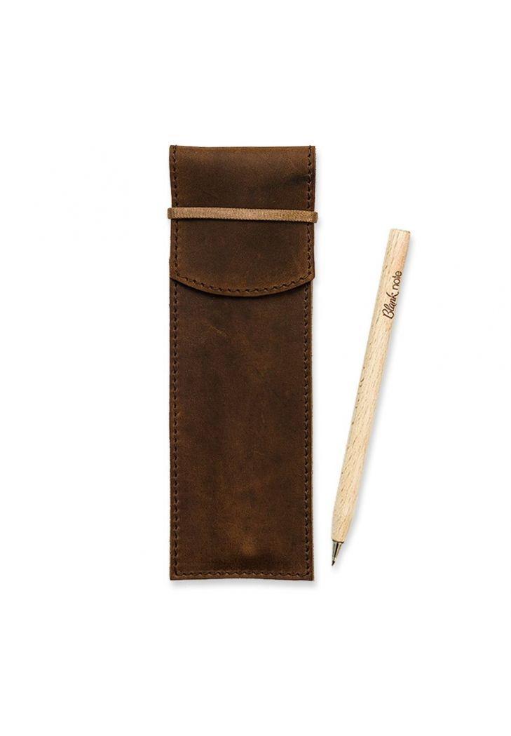 Чехол для ручек кожаный темно-коричневый (ручная работа)
