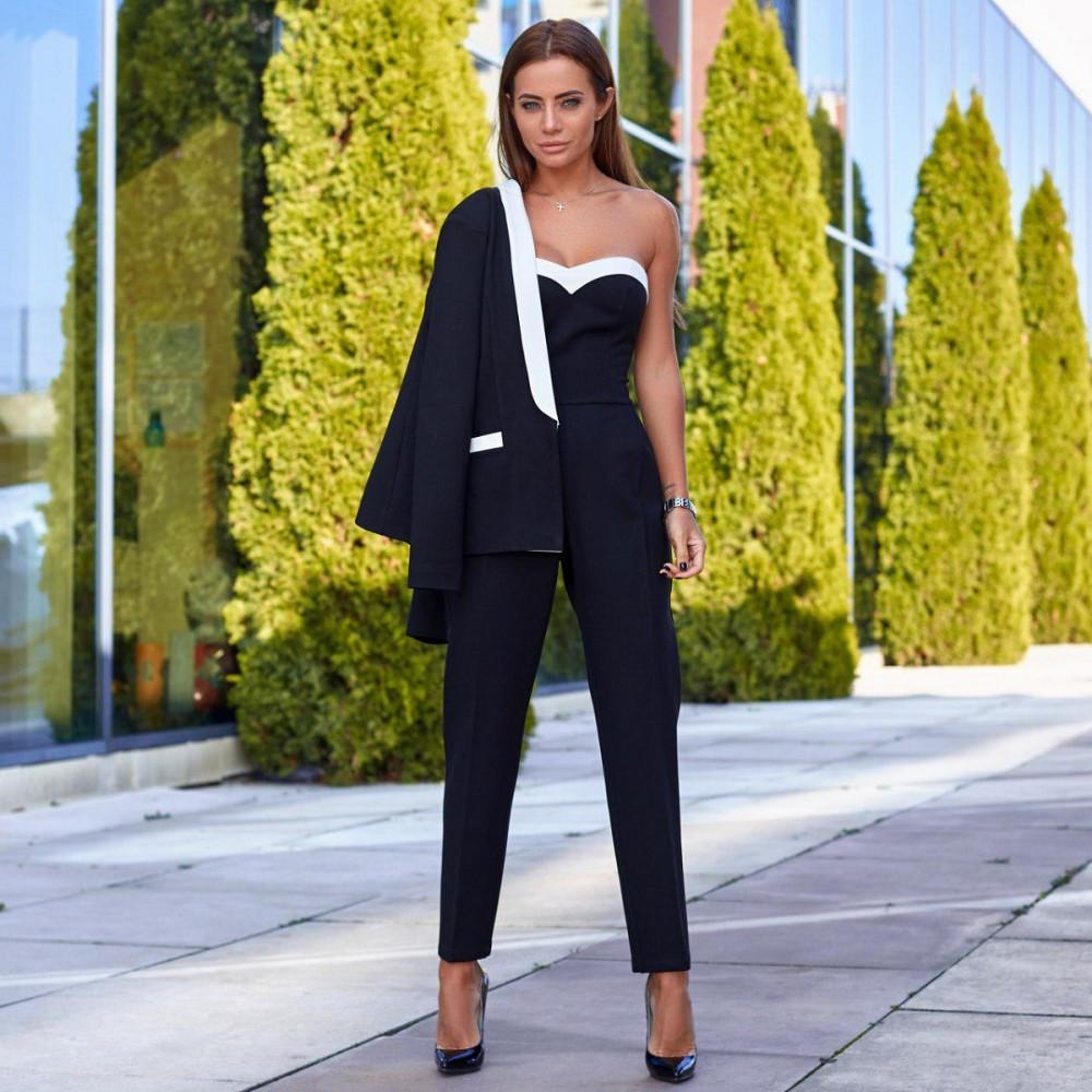 Жіночий костюм-двійка піджак+комбінезон чорний