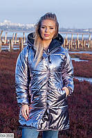 Зимняя женская двухсторонняя куртка большие размеры РО5257, фото 1