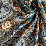 Подарок с ярмарки 1858-9, павлопосадский платок шерстяной  с шелковой бахромой, фото 5