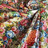 Павловопосадский 1816-1, павлопосадский платок (шаль) из уплотненной шерсти с шелковой вязанной бахромой, фото 6