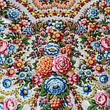 Павловопосадский 1816-1, павлопосадский платок (шаль) из уплотненной шерсти с шелковой вязанной бахромой, фото 7