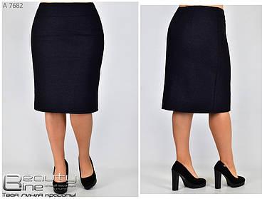 Тёплая женская классическая  юбка из букле  батал с 50 по 58 размер, фото 2