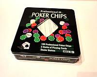 Покерный набор 2 колоды карт, 100 фишек, фото 1