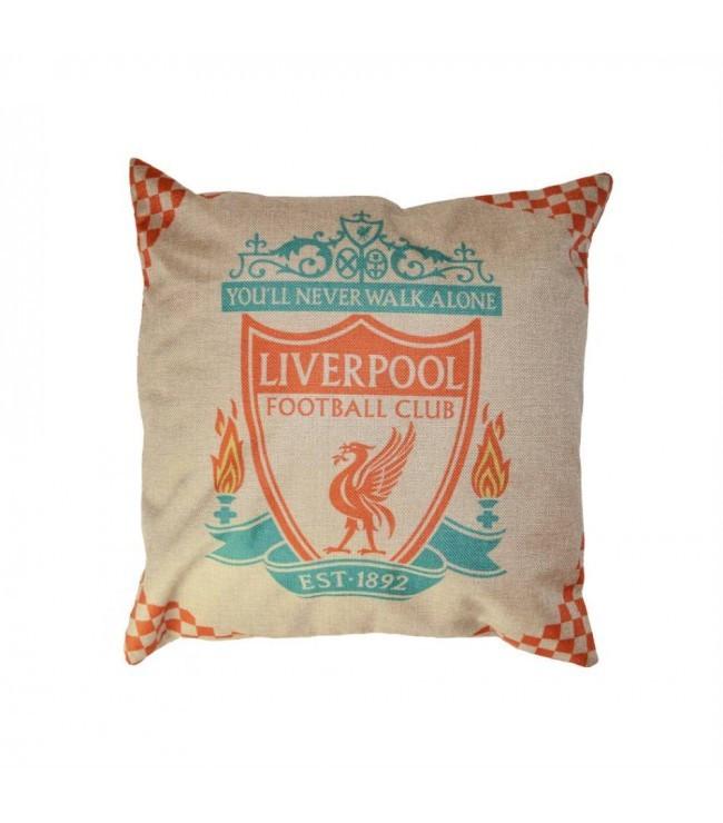 Наволочка для подушки льняная с логотипом футбольного клуба Liverpool FC