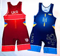 Трико борцовское сборная Украины UWW UKRAINE 2018 синее детское подростковое взрослое