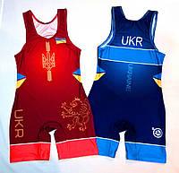 Трико борцовское сборная Украины UWW UKRAINE 2018 красное детское подростковое взрослое