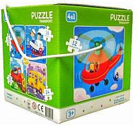 """Пазл DoDo 4 в 1 """"Транспорт"""" 300132, детская игрушка, подарок для ребенка"""