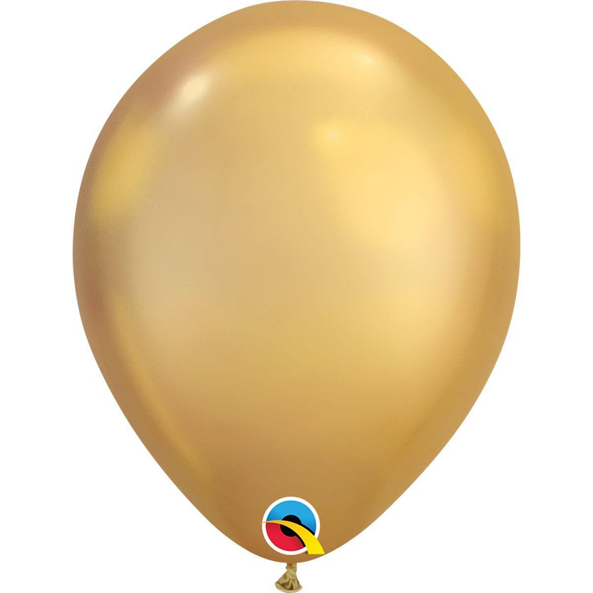 """Латексна кулька хром золото 7"""" / 18см Gold Qualatex (США)"""