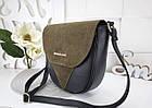 Женская сумка-клатч в цвете хаки+чёрный, структурная эко кожа+натуральный замш (под бренд), фото 3