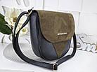 Женская сумка-клатч в цвете хаки+чёрный, структурная эко кожа+натуральный замш (под бренд), фото 4