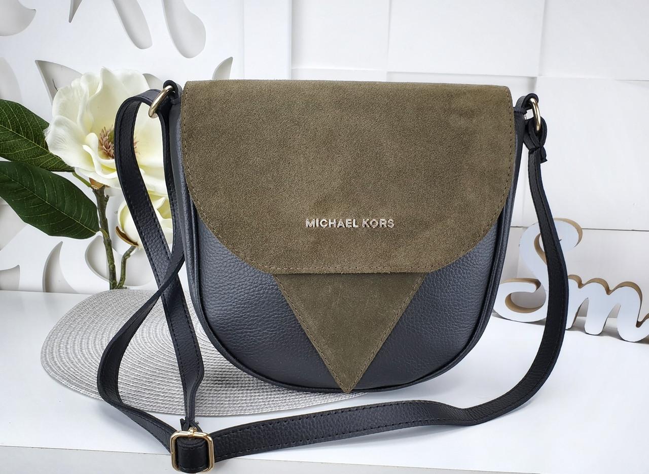 Женская сумка-клатч в цвете хаки+чёрный, структурная эко кожа+натуральный замш (под бренд)