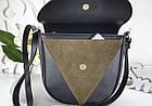 Женская сумка-клатч в цвете хаки+чёрный, структурная эко кожа+натуральный замш (под бренд), фото 5