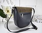 Женская сумка-клатч в цвете хаки+чёрный, структурная эко кожа+натуральный замш (под бренд), фото 6
