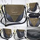 Женская сумка-клатч в цвете хаки+чёрный, структурная эко кожа+натуральный замш (под бренд), фото 7