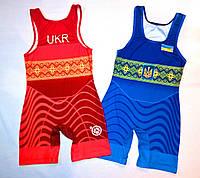 Трико борцовское сборная Украины UWW синее детское подростковое взрослое