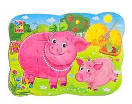 """Пазлы на магните А5 """"Свинья и поросенок"""" УКР VT3205-77, детская игрушка, подарок для ребенка"""