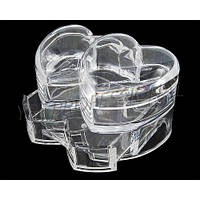 Органайзер подставка прозрачная для косметики, двойное сердце, фото 1
