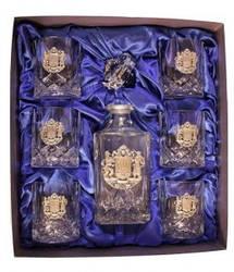 Хрустальный набор - штоф и бокалы для виски ( 6 шт.) с посеребренными вставками тризуба(925 проба), 300\750мл