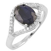 Серебряное кольцо Kolibri с натуральным сапфиром (1465387) 18 размер