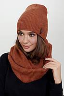 Комплект женская шапка и шарф хомут меланж АЛЕКСА 10 Цветов
