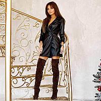 Женское платье-жакет из экокожи черное, фото 1