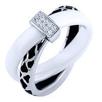 Серебряное кольцо Kolibri с керамикой, емаллю (1885871) 17 размер