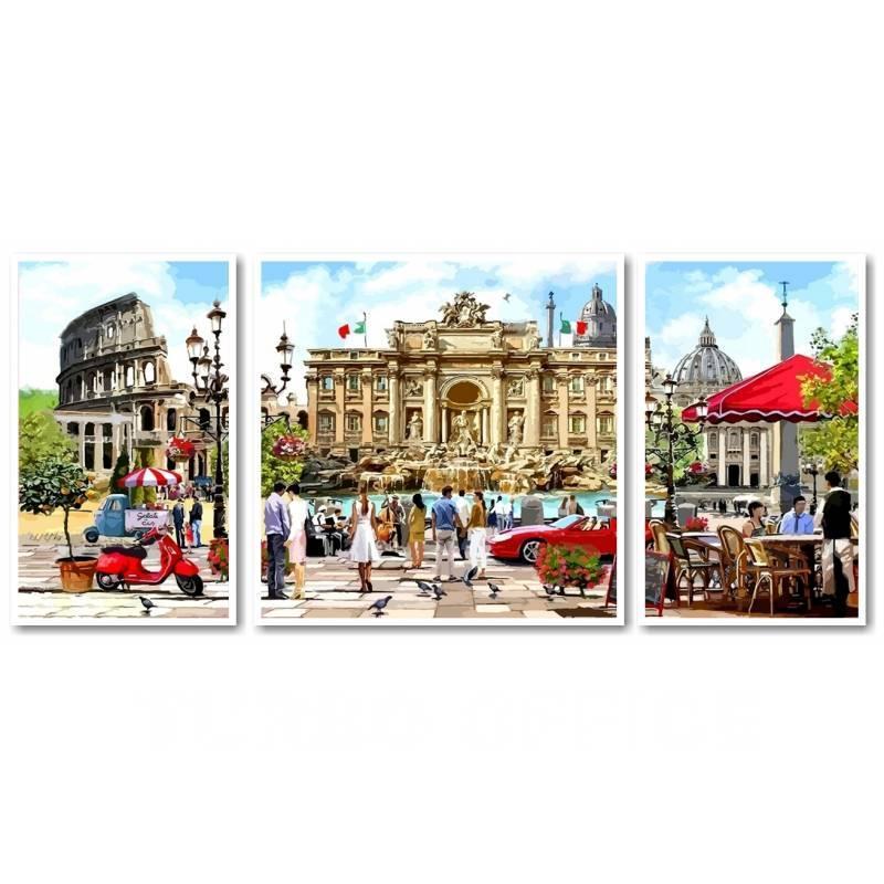 Картина по номерам Рим - столица Италии, 1 50 х 50 см, 2 по 30 х 50 см